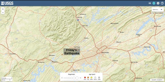 A 2.2 magnitude earthquake was reported between Kingston and Oak Ridge at around 1:15 p.m. Friday.