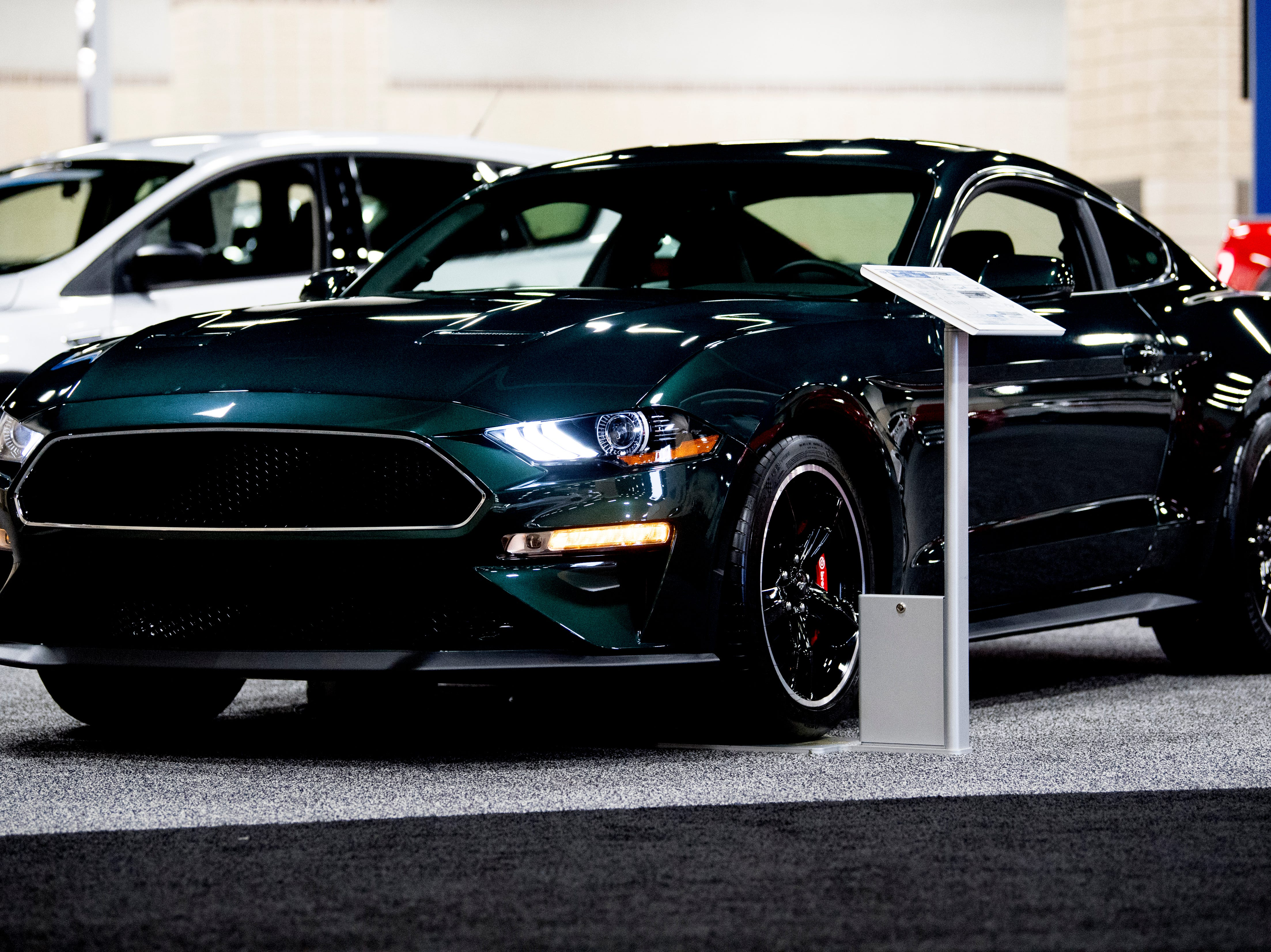 A 2019 Ford Mustang BULLITT seen at the Knox News Auto Show preview party in the Knoxville Convention Center in Knoxville, Tennessee on Thursday, February 21, 2019.