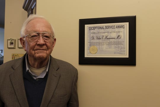 Tippecanoe County Commissioners honored Dr. Bob Hannemann for more than 40 years of service at Cary Home for Children.