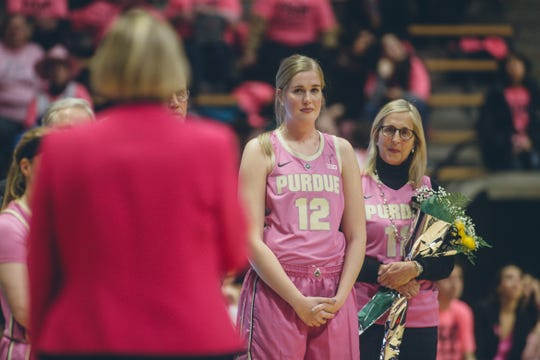 Purdue center Nora Kiesler at Senior Day ceremonies