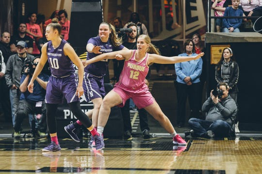 Purdue senior Nora Kiesler against Northwestern