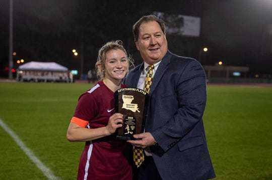 Maddie Moreau is named MVP as STM takes down Lakeshore to win the LHSAA State Soccer Championship. Thursday, Feb. 21, 2019.