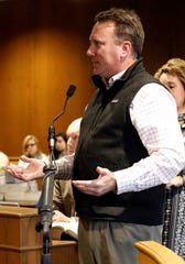 Tim Thompson, franchisee of Primary Aim, LLC, speaks during a sentencing hearing for one of his former employees Thursday, Feb. 21, 2019, in Fairfield County Common Pleas Court in Lancaster. Katrine May Young, 20, was sentenced to five years of community control and ordered to by more than $15,000 in restitution for sending death threats to coworkers at the Wendy's restaurant she worked at in Lancaster. She also shut down the stores cash registers multiple times.