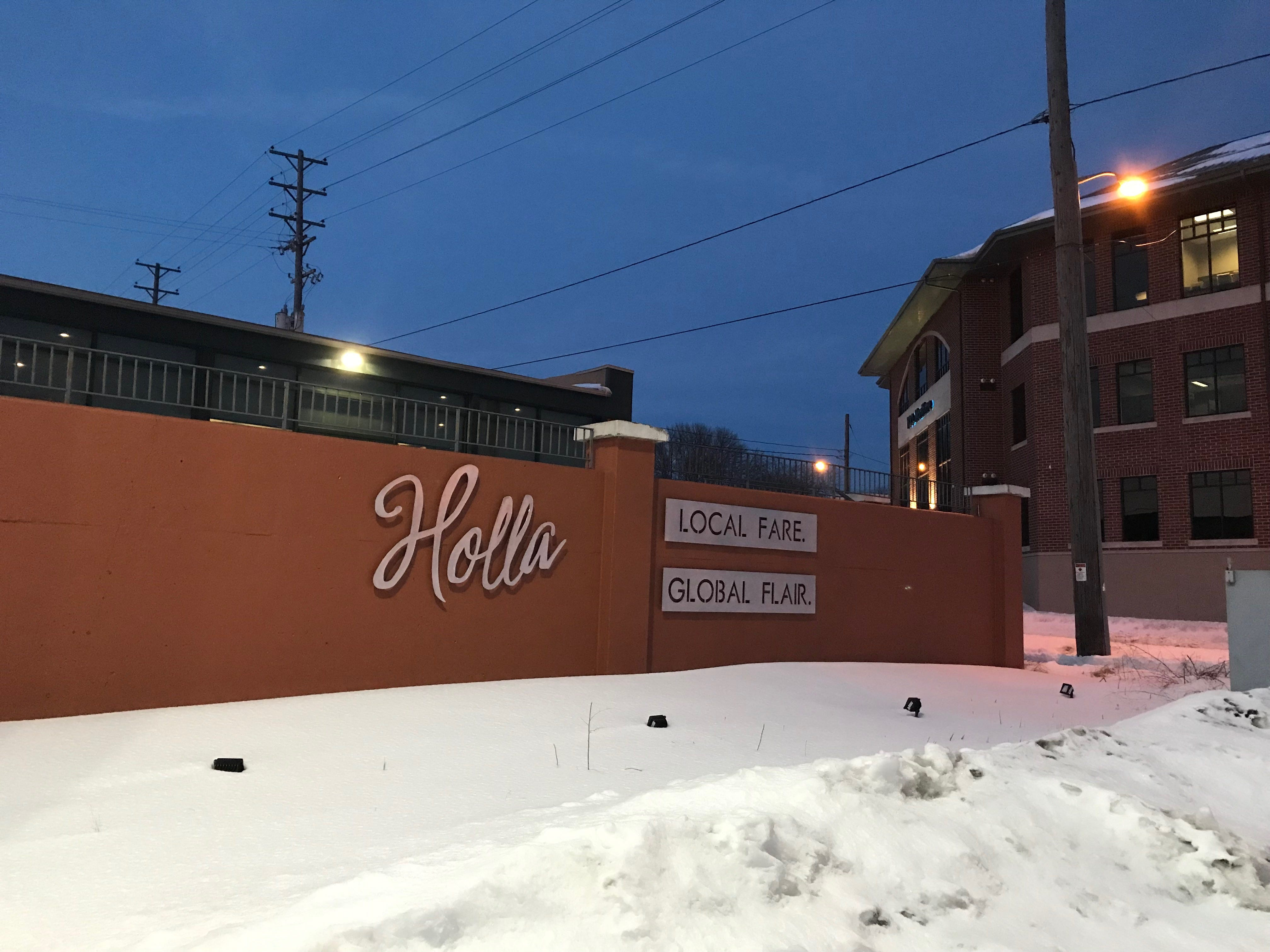 Holla is a new farm-to-table restaurant at 603 York St., Manitowoc. This sign can be seen from Maritime Drive.