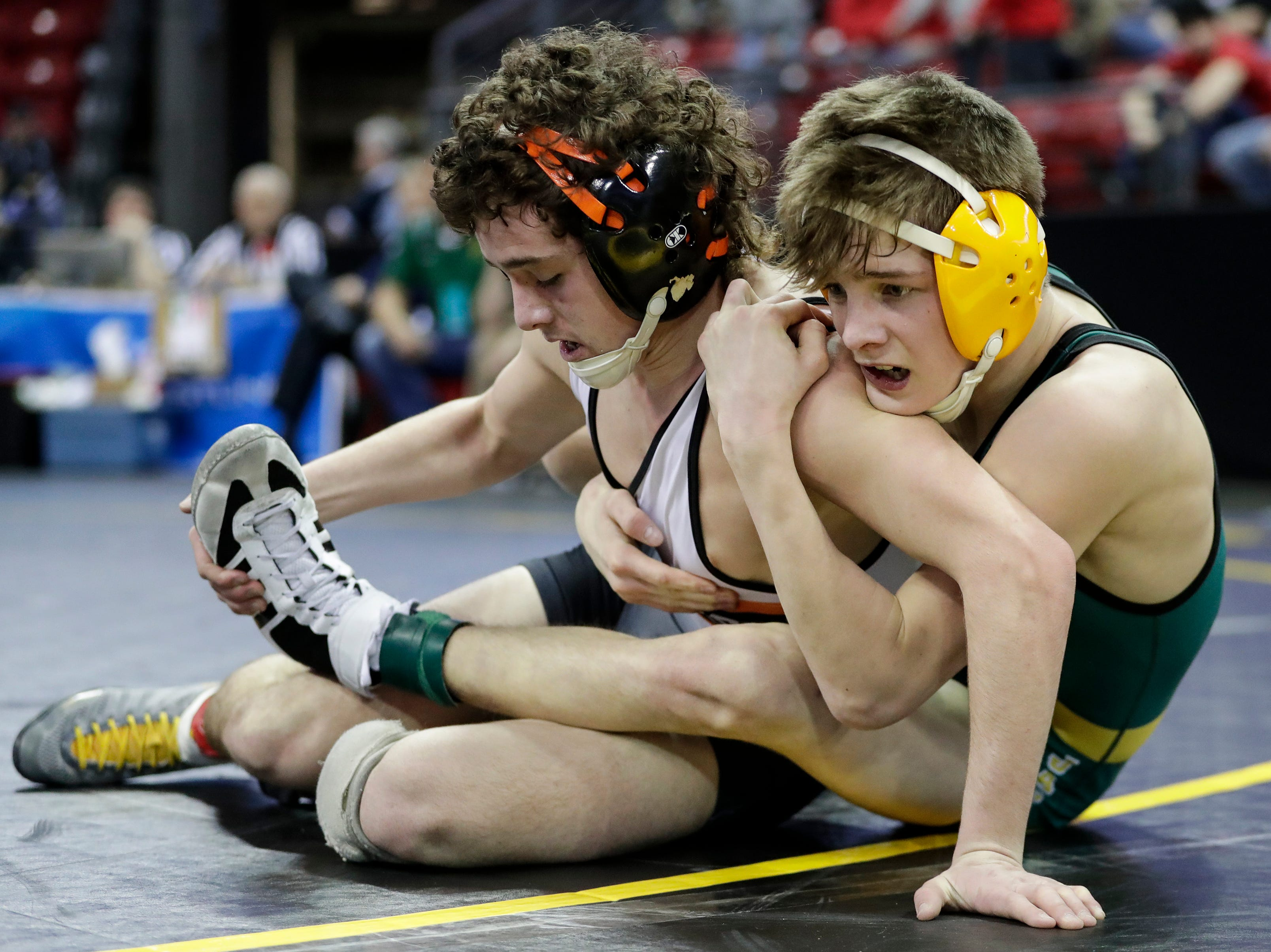 Ahwaubenon's Cody Minor wrestles Burlington's Jaden Bird in a Division 1 113-pound weight class quarterfinal match during the WIAA state individual wrestling tournament at the Kohl Center Thursday, February 21, 2019, in Madison, Wis.