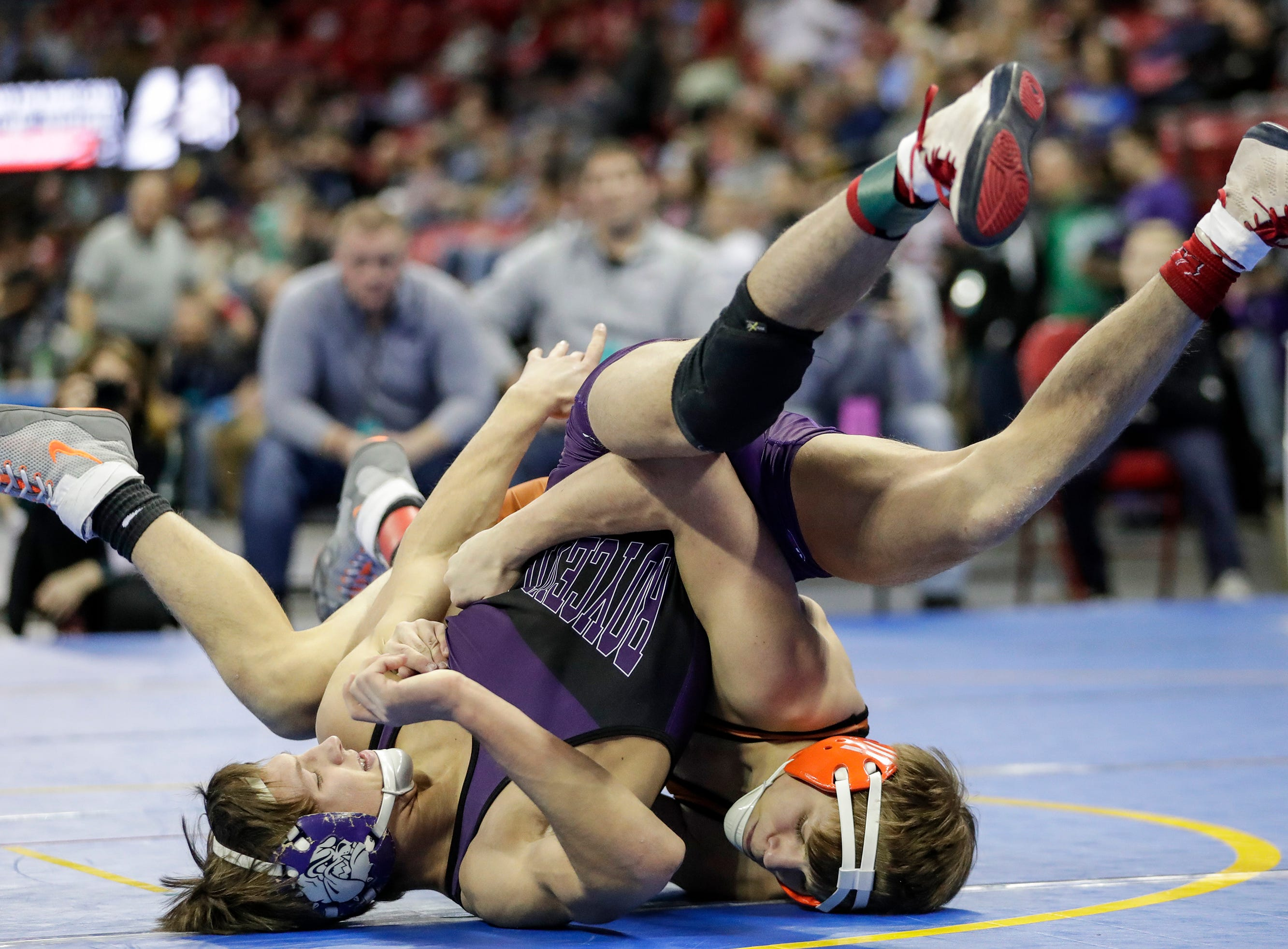 Stratford's Jacob Heiden wrestles Boyceville's Nick Goodell in a Division 3 138-pound weight class preliminary match during the WIAA state individual wrestling tournament at the Kohl Center Thursday, February 21, 2019, in Madison, Wis.