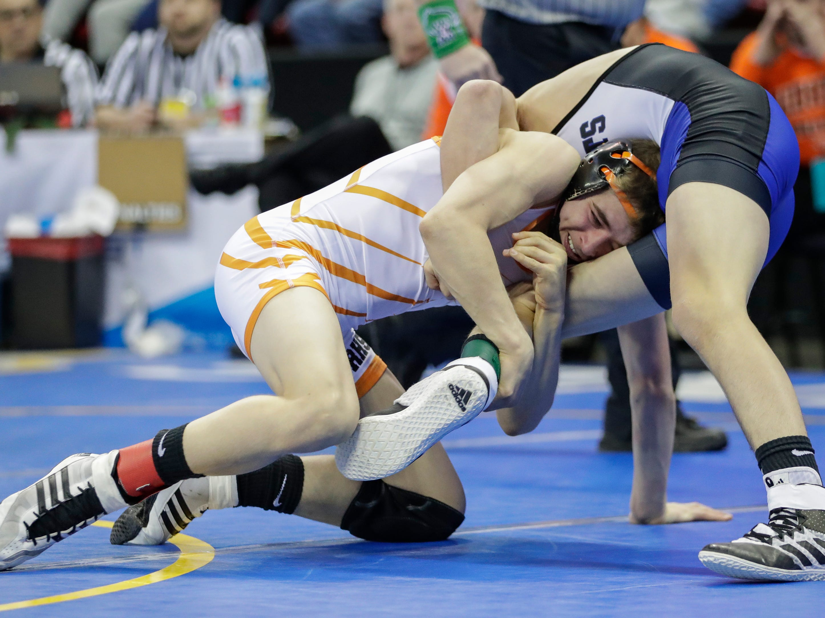 Reedsville's Caleb Delsman wrestles Saint Croix Falls' Mason Will in a Division 3 113-pound weight class preliminary match during the WIAA state individual wrestling tournament at the Kohl Center Thursday, February 21, 2019, in Madison, Wis.