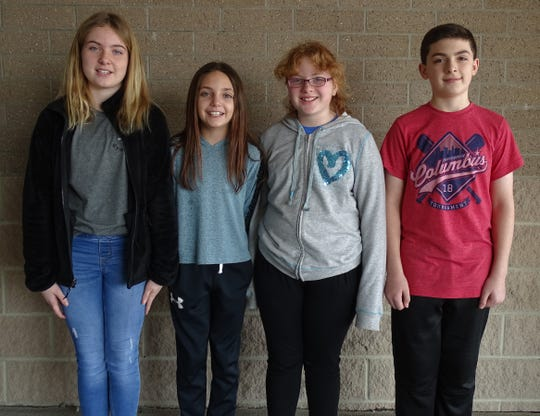 Grade-school students participating in the Wynford science fair are, from left, Gigi Risner, sixth grade; Rylee Robinson, fifth; Tasia Crank, fifth; and Drew Johnson, sixth.