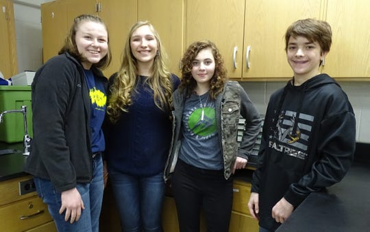 High-school freshmen participating in the Wynford science fair are, from left, Trisha Butterfield, Natalie Stover, Pandora Meadows and Daniel Kurek.