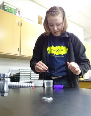 Trisha Butterfield demonstrates her science fair project as students prepared for the event on Thursday.