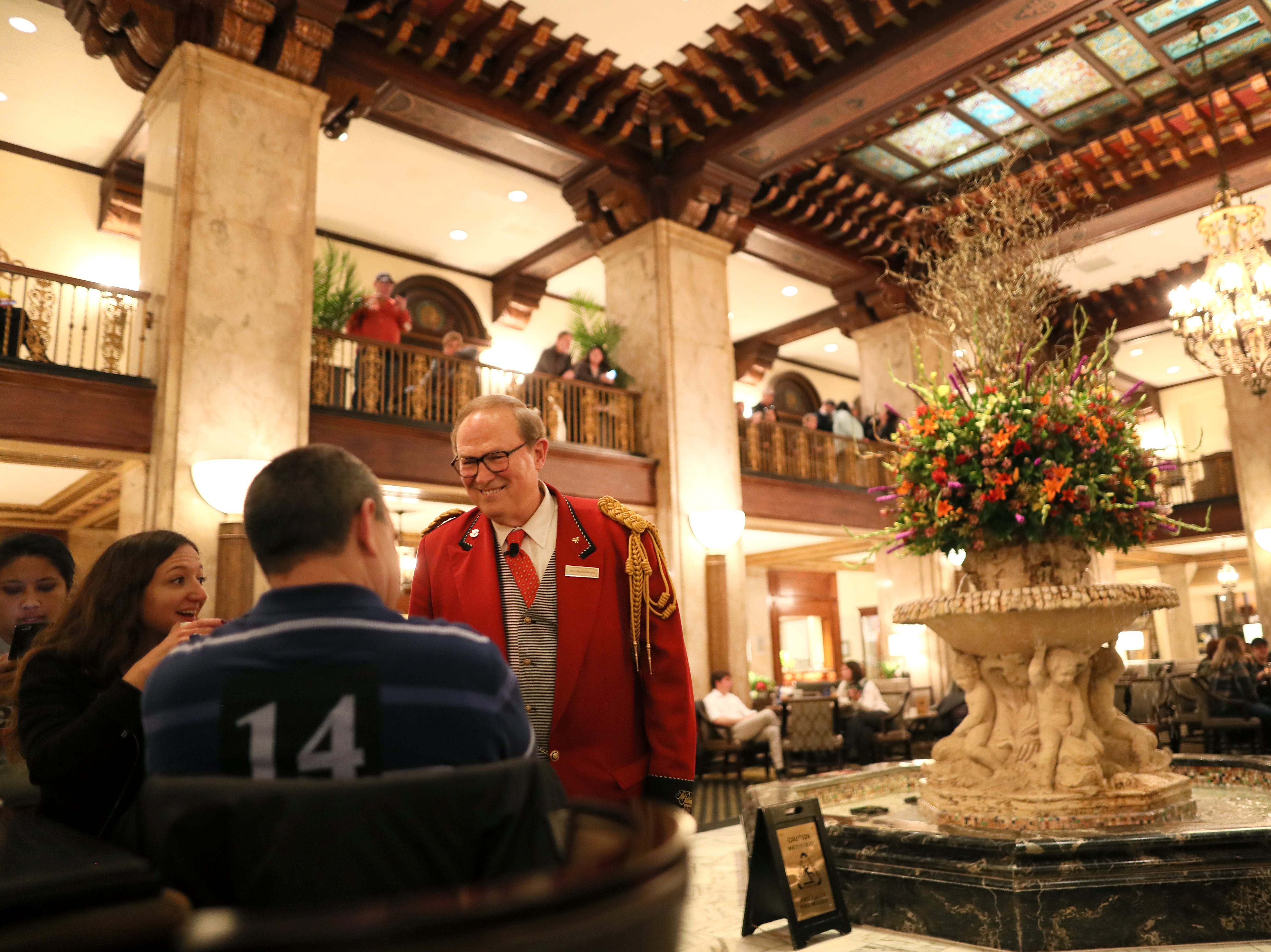 Doug Weatherford, Duckmaster at the Peabody Hotel speaks to guests gathered for the marching of the ducks as the iconic downtown Memphis hotel on Thursday, Feb. 21, 2019.