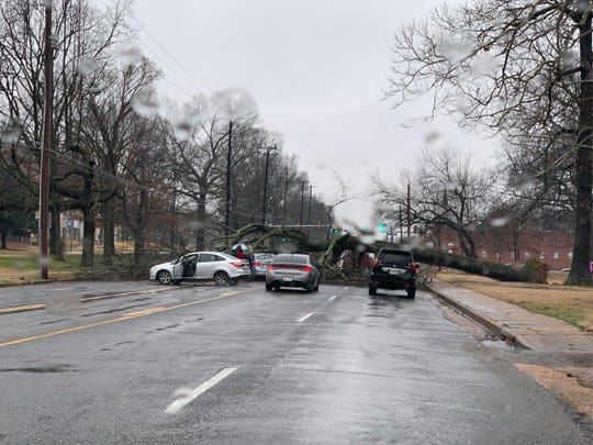 Grounds saturated from rain mean that older trees are at a higher risk of uprooting and falling over.  The addition of wind increases that risk even more, according to the National Weather Service.