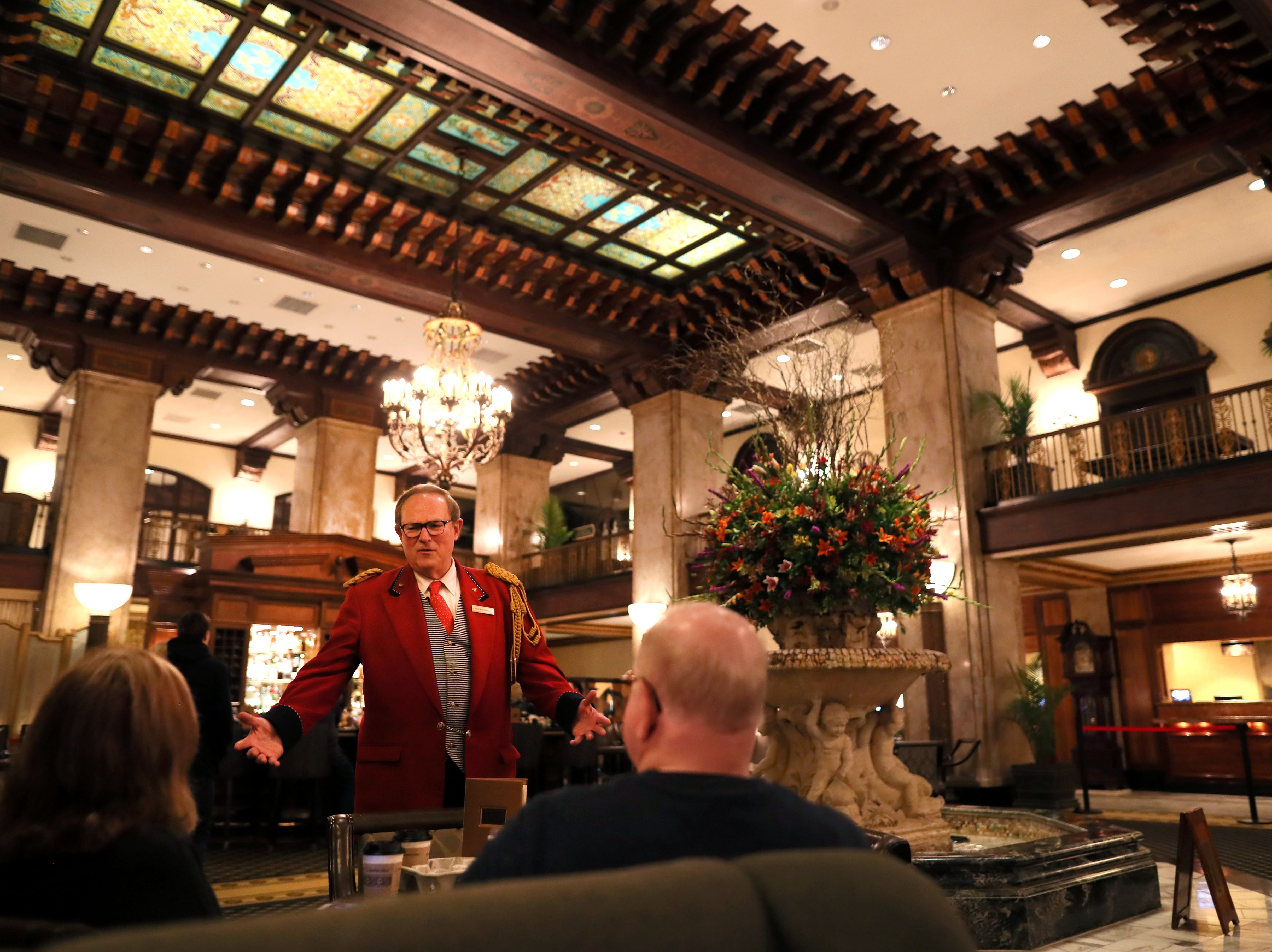 Doug Weatherford, Duckmaster at the Peabody Hotel speaks to guests of the iconic downtown Memphis landmark on Thursday, Feb. 21, 2019.