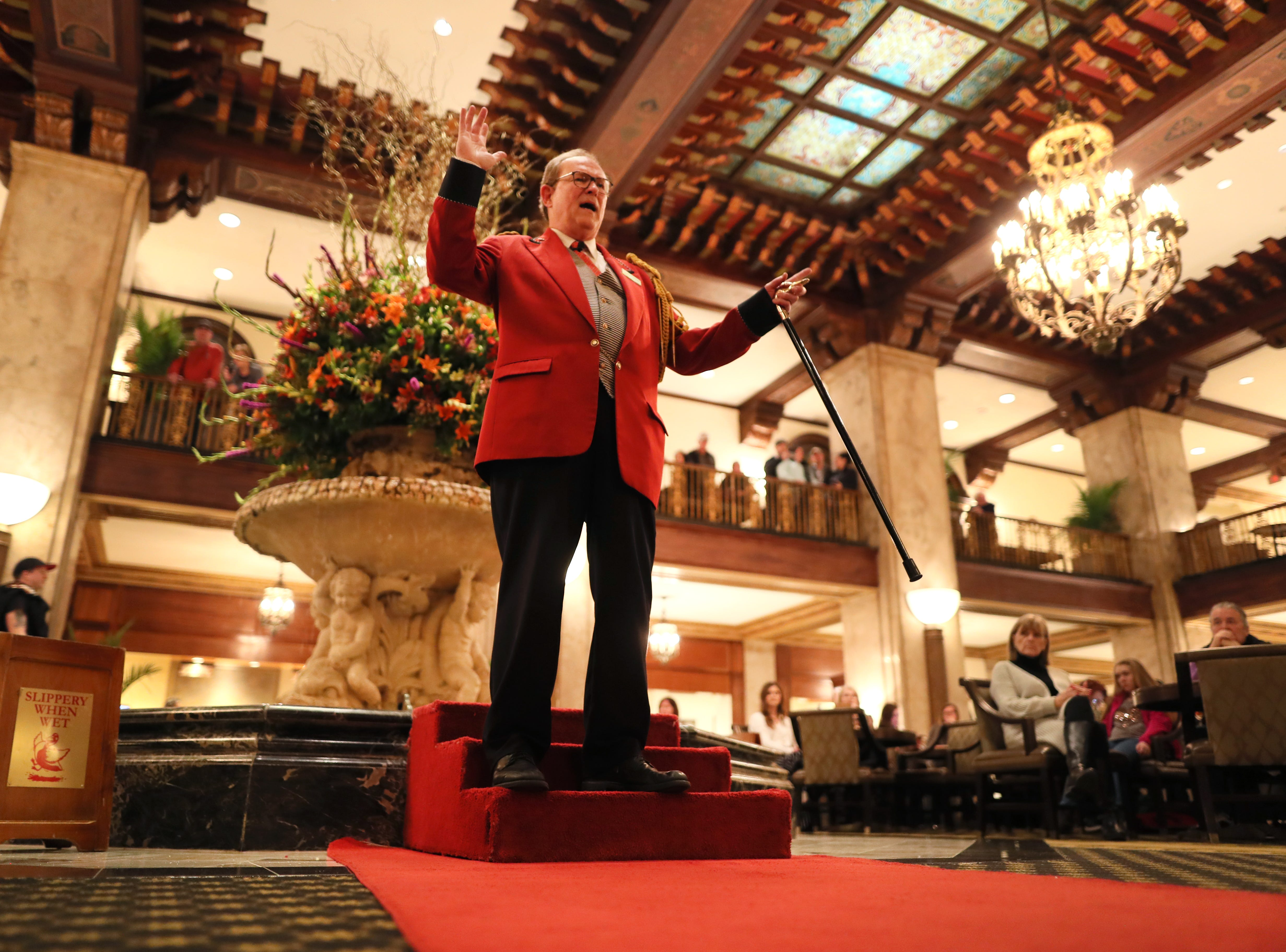 Doug Weatherford, Duckmaster at the Peabody Hotel speaks to the crowd gathered for the marching of the ducks as the iconic downtown Memphis hotel on Thursday, Feb. 21, 2019.