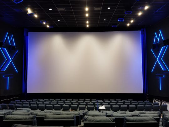 The big-screen MXT auditorium in the Malco Powerhouse Cinema. This photograph was taken before the theater opened on March 7, 2019,  but thanks to the COVID-19 pandemic, it looks much the same today.