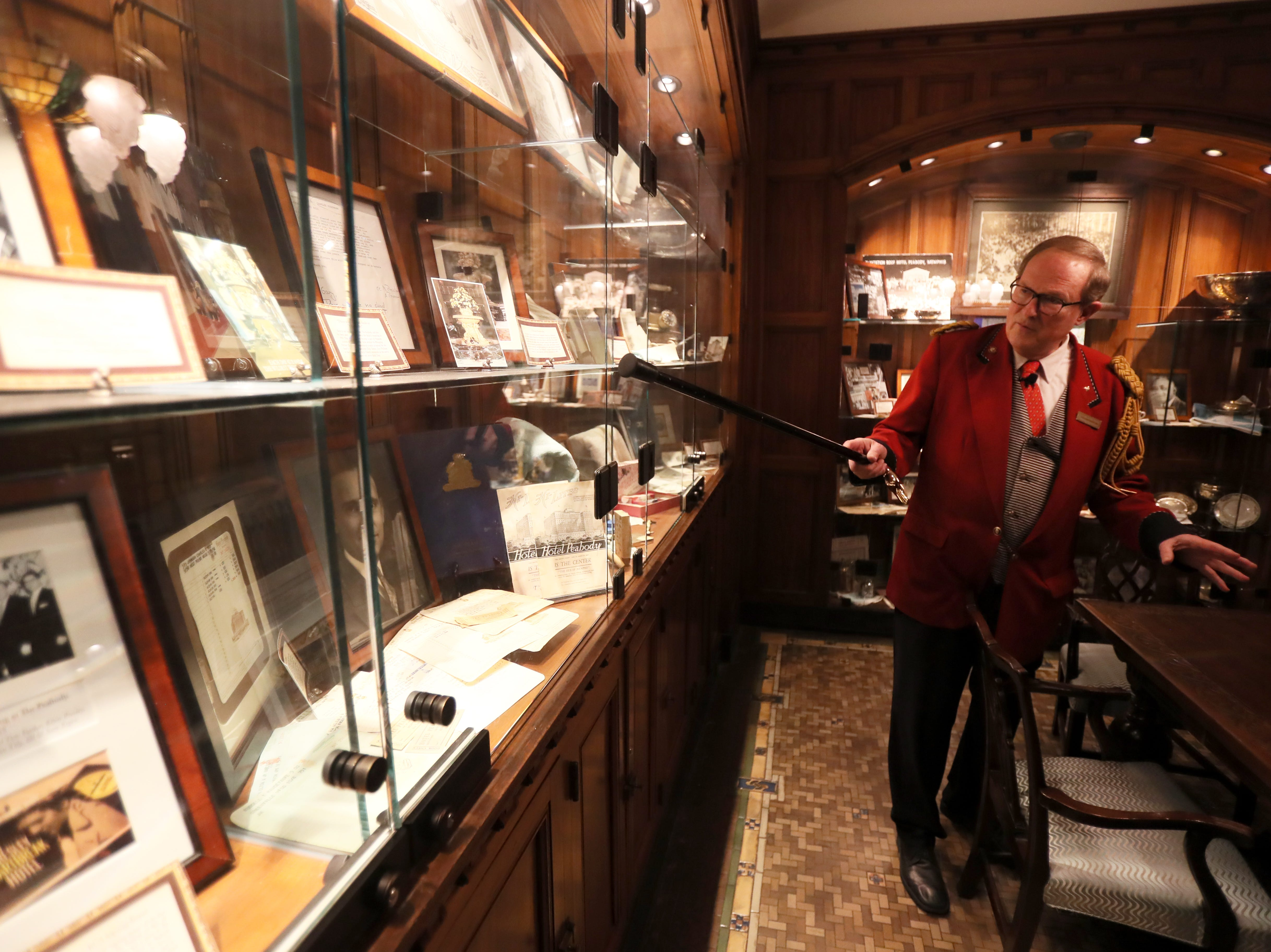 Doug Weatherford, Duckmaster at the Peabody Hotel gives a tour of the memorabilia room at the downtown Memphis hotel on Thursday, Feb. 21, 2019.