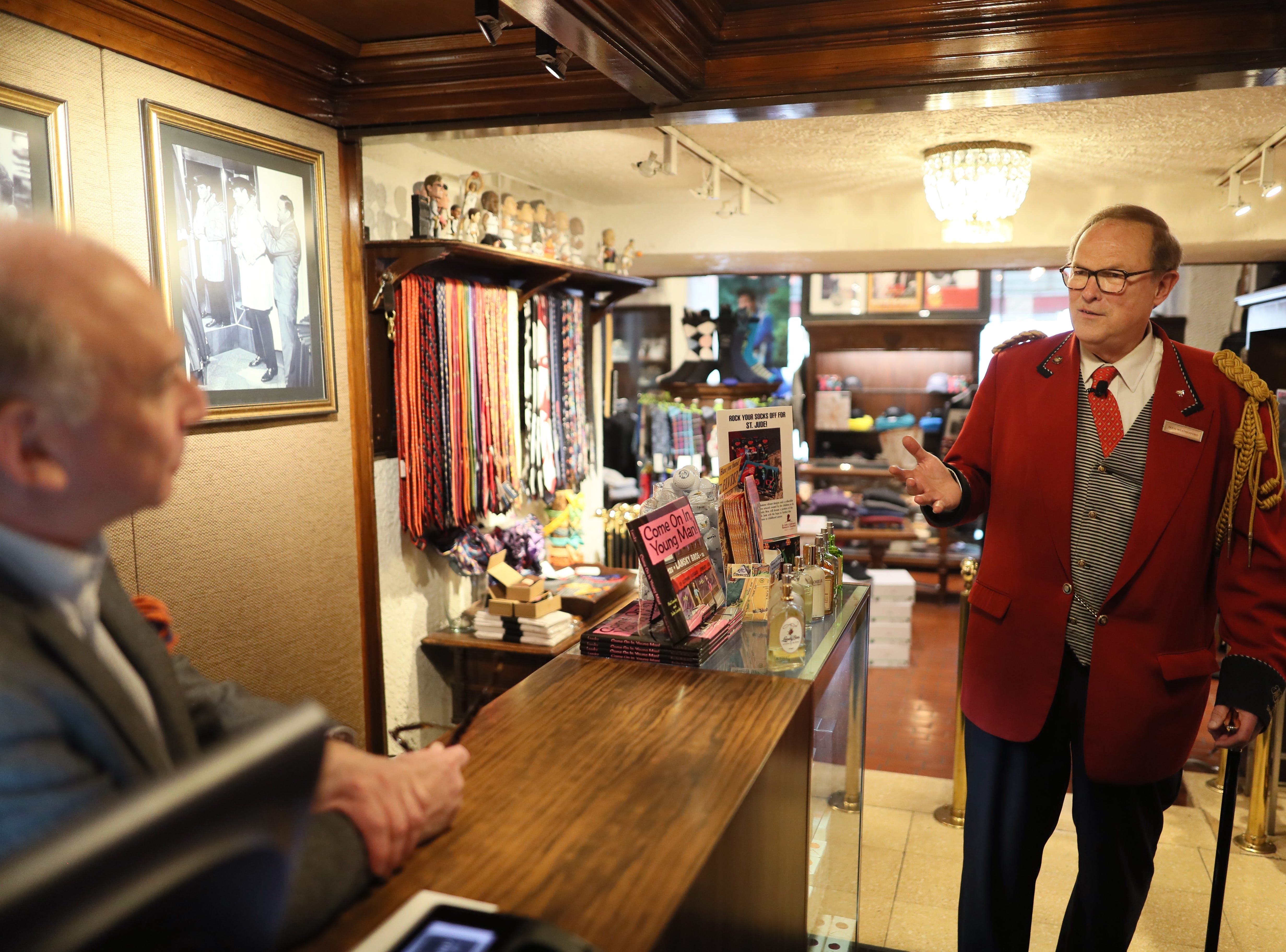 Doug Weatherford, Duckmaster at the Peabody Hotel gives a tour with details of the Lansky Brothers clothing shop inside the historic building in downtown Memphis on Thursday, Feb. 21, 2019.