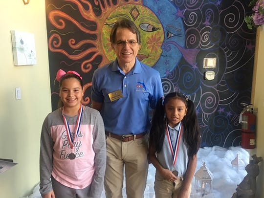 Kiwanis Club of Marco Island acknowledged Terrific Kids from Manatee Elementary School grades 3 and 4 at their Feb. 7 meeting. Above, Jasmine Pina, Preston Stiner-President of Kiwanis Club and Yoana Velazquez.