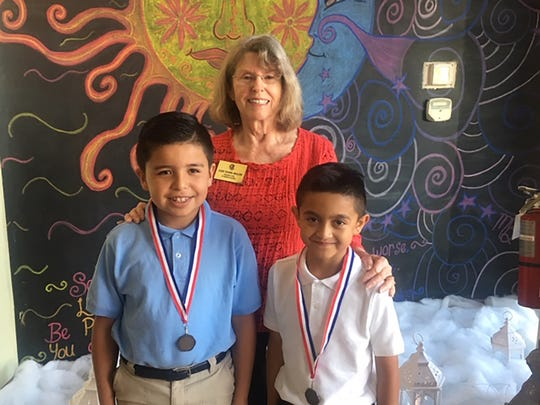 Kiwanis Club of Marco Island acknowledged Terrific Kids from Manatee Elementary School grades 3 and 4 at their Feb. 7 meeting. Above, Adrian Vargos Campos, Judith Dunn-Terrific Kids Liaison and Bernardo Castillo.