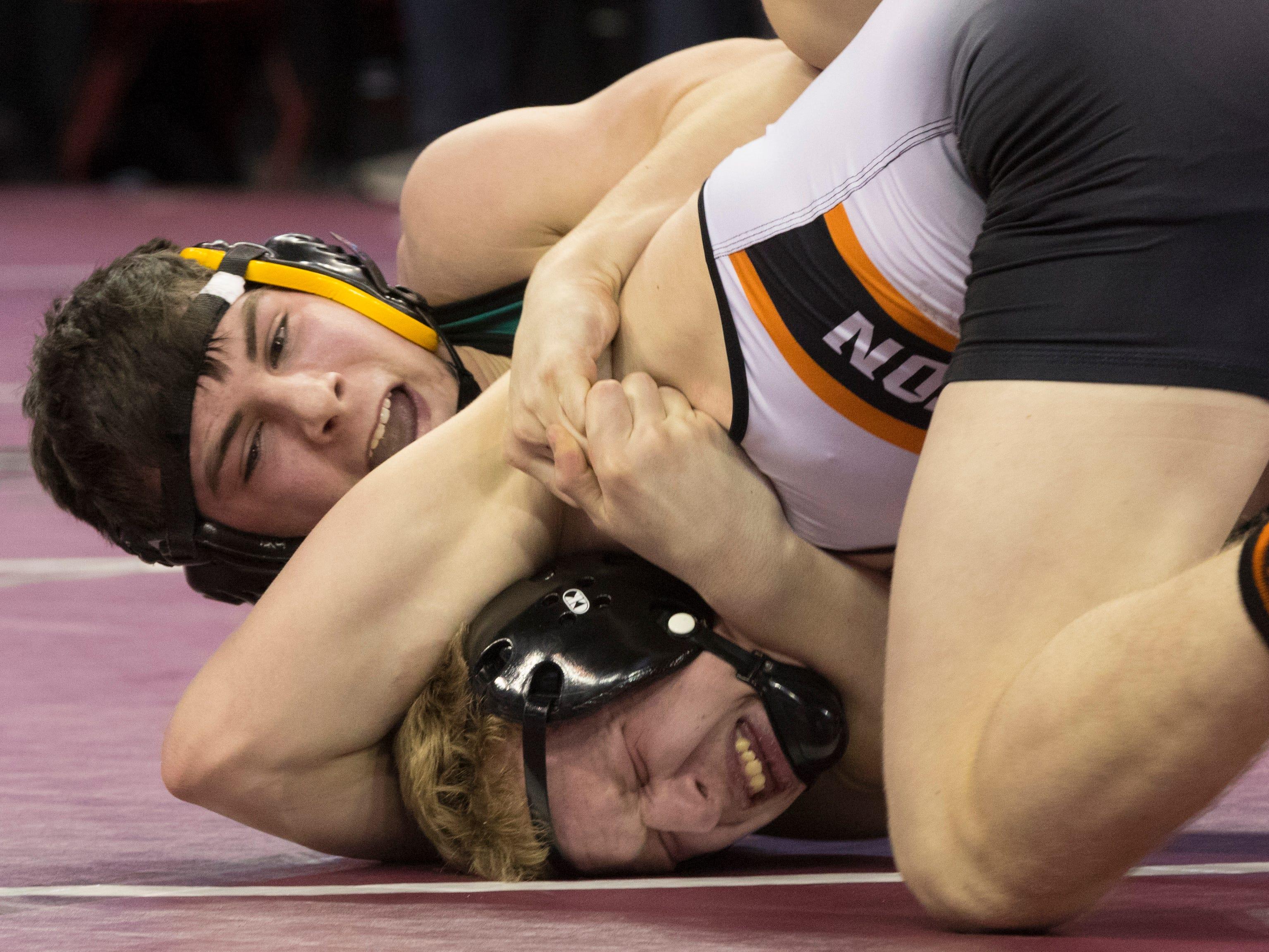 Burlington's Jake Skrundz (bottom) defeats Ashwaubenon's Connor Ramage  in a 160-pound quarterfinal match.
