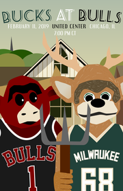 """Witkowski's poster for the Feb. 11 battle against the Bulls borrowed its concept from Grant Wood's iconic """"American Gothic"""" painting."""
