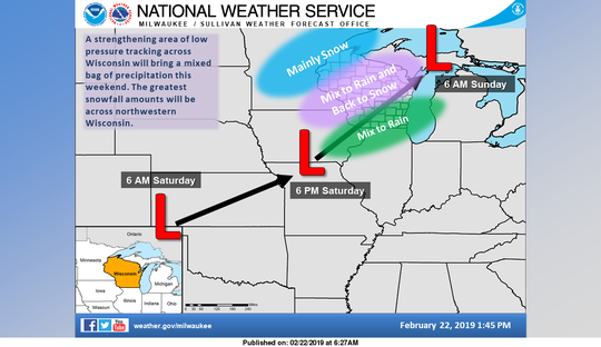 A strengthening storm system will track northeast across Wisconsin this weekend.