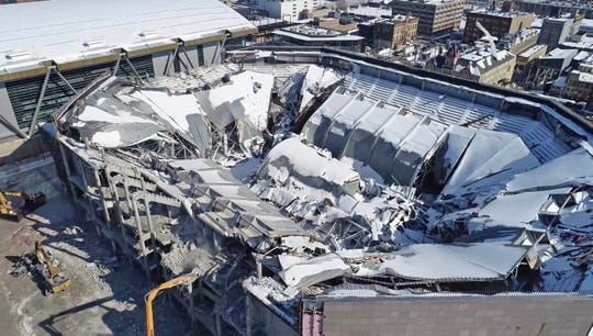 A view looking north shows the inside the demolished Bradley Center next to Fiserv Forum.