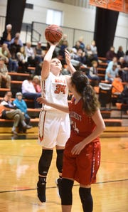 Viola's Braidlyn Fierce puts up a shot against Hillcrest on Thursday night.