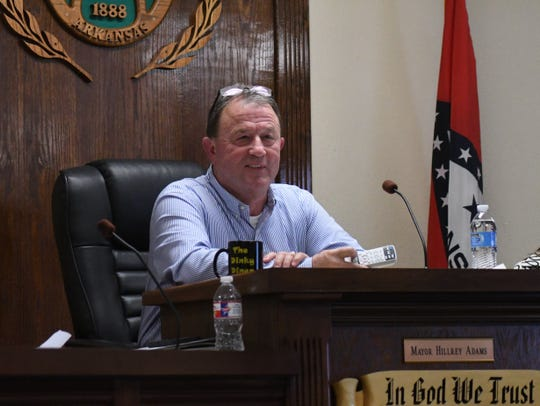 Mountain Home Mayor Hillrey Adams addresses the audience during Thursday night's City Council meeting. The Council voted 7-1 to raise the city's water and sewer rates by 1.5 percent.