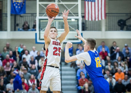 Blackford's Luke Brown shoots against Burris during their game at Burris High School Thursday, Feb. 21, 2019.