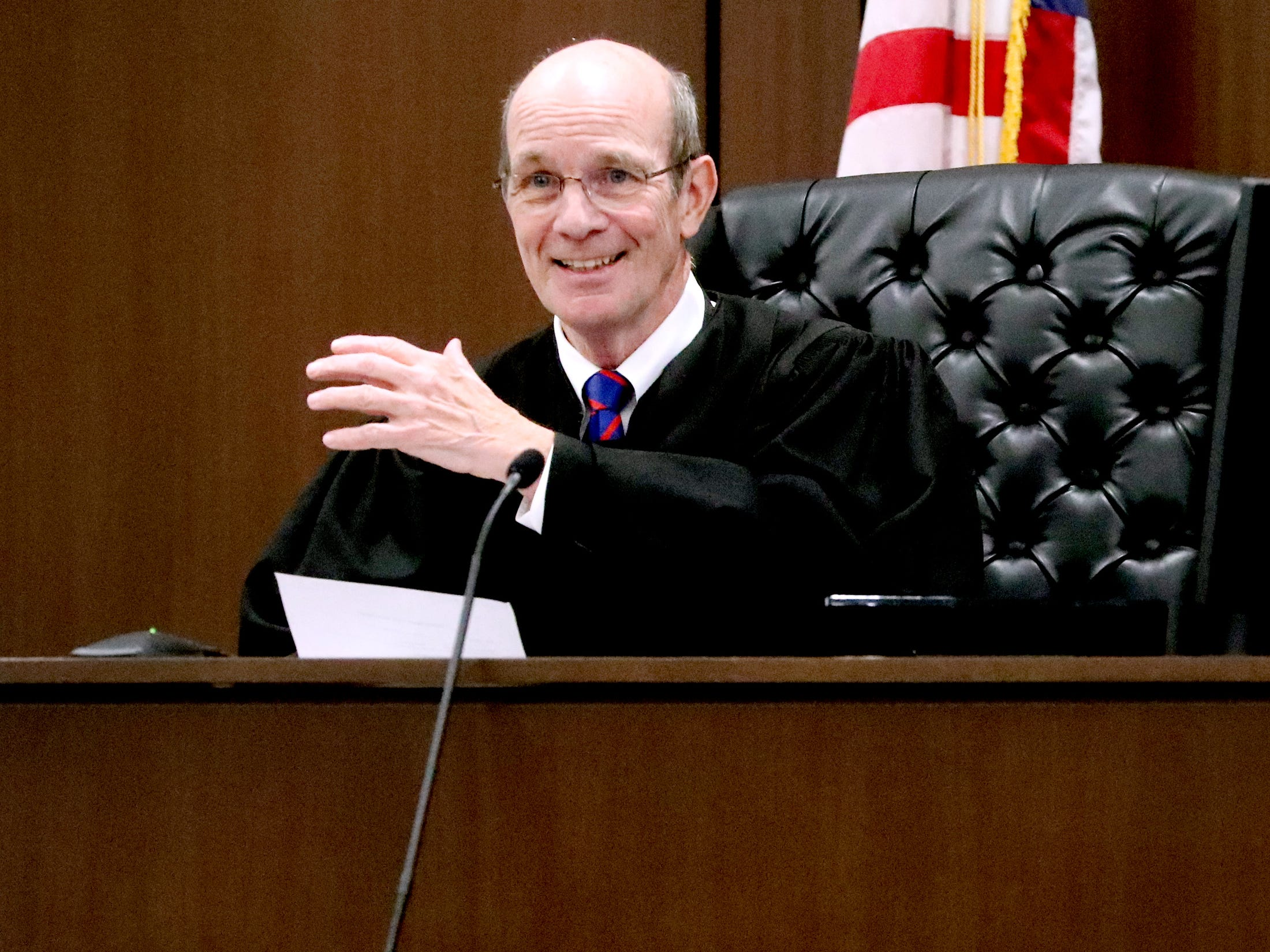 Judge Ben Hall McFarlin Jr. fills in for Judge Barry Tidwell during Mental Health court. McFarlin claps for and then asks the participants to come up and get a reward if they have done well with their progress on Friday, Feb. 22, 2019.  After the docket a two year anniversary celebration was held to celebrate the success of the Mental Health Court program.