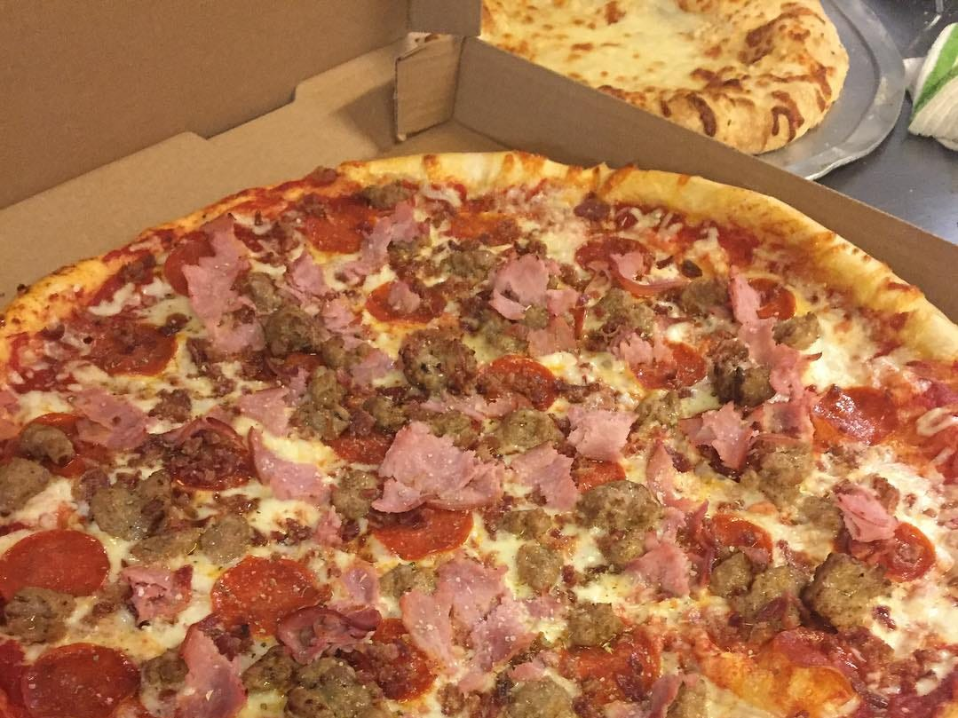 Spinelli's meat lovers pizza.
