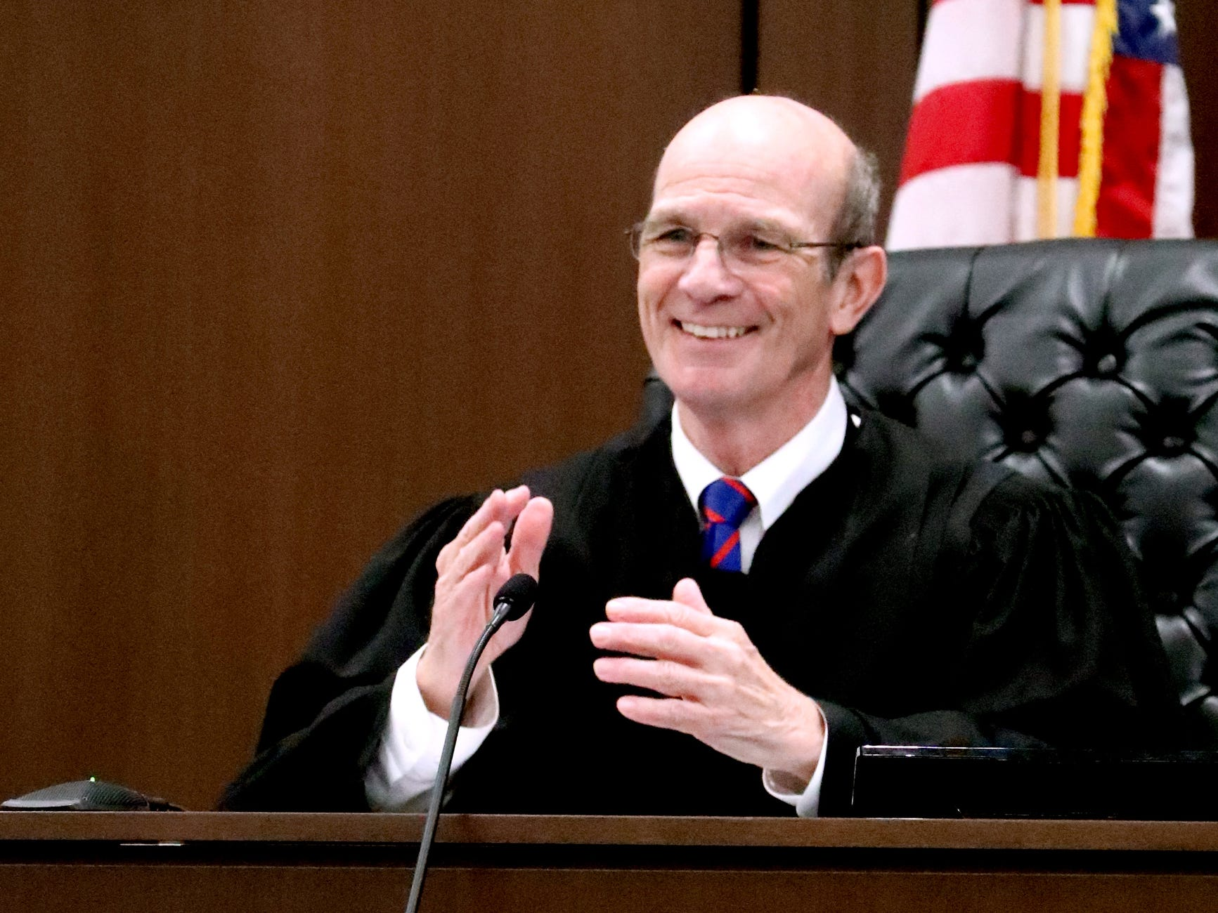 Judge Ben Hall McFarlin Jr. fills in for Judge Barry Tidwell during Mental Health Court. McFarlin claps for and then asks the participants to come up and get a reward if they have done well with their progress on Friday, Feb. 22, 2019.  After the docket, a two year anniversary celebration was held to celebrate the success of the Mental Health Court program.