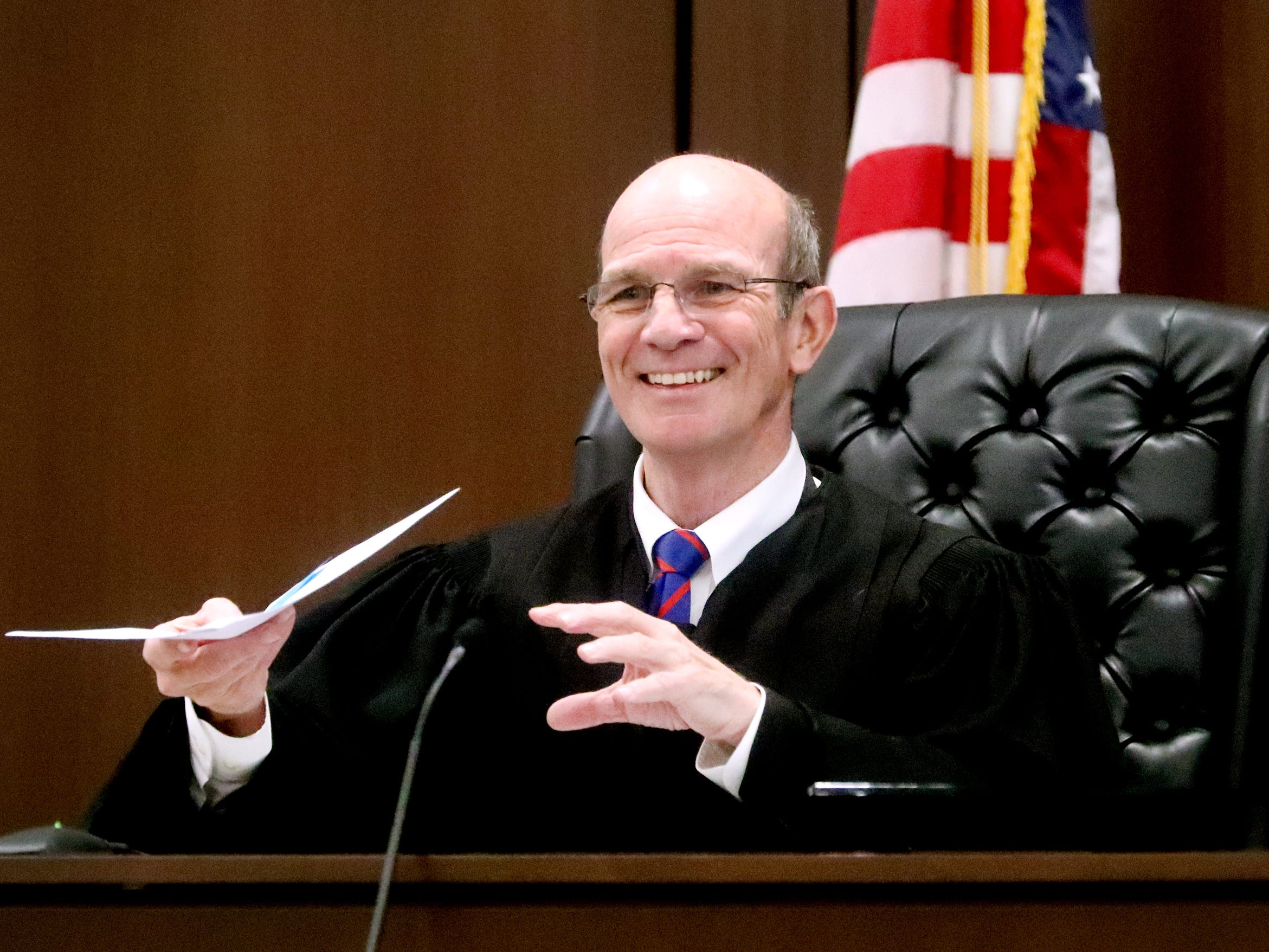 Judge Ben Hall McFarlin Jr. fills in for Judge Barry Tidwell during Mental Health Court on Friday, Feb. 22, 2019.  After the docket, a two year anniversary celebration was held to celebrate the success of the Mental Health Court program.