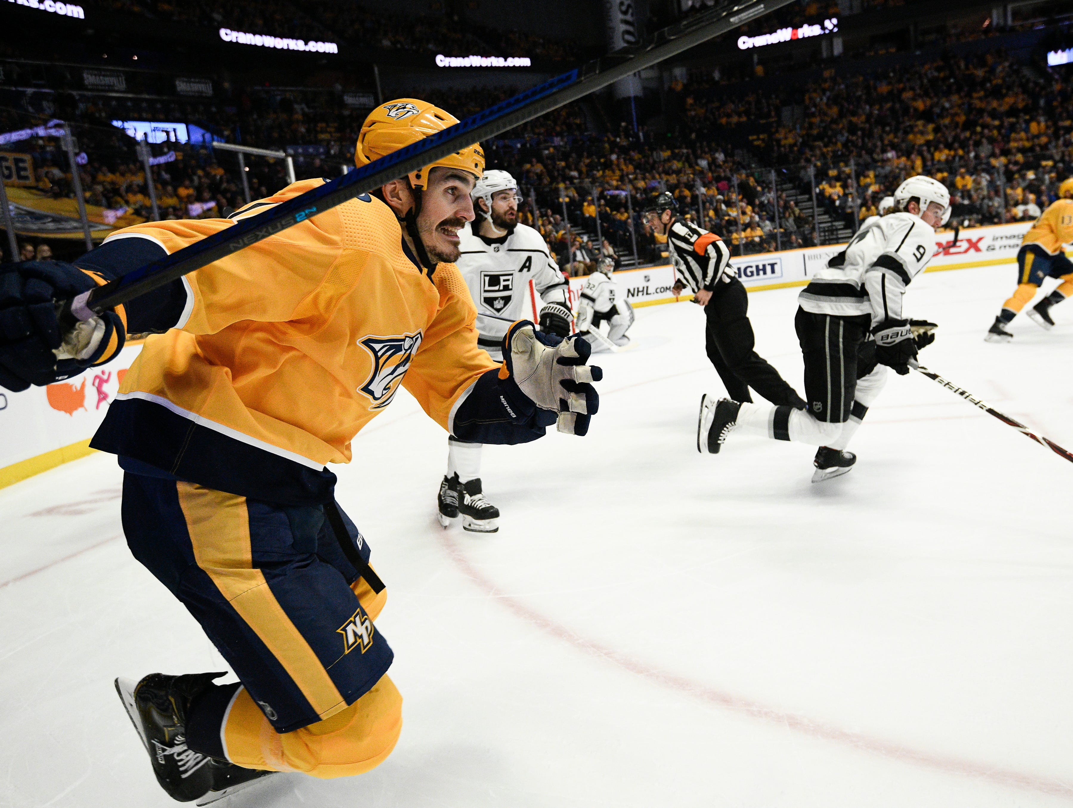Predators center Brian Boyle (11) races up the ice past the Kings defense during the first period at Bridgestone Arena Thursday, Feb. 21, 2019 in Nashville, Tenn.