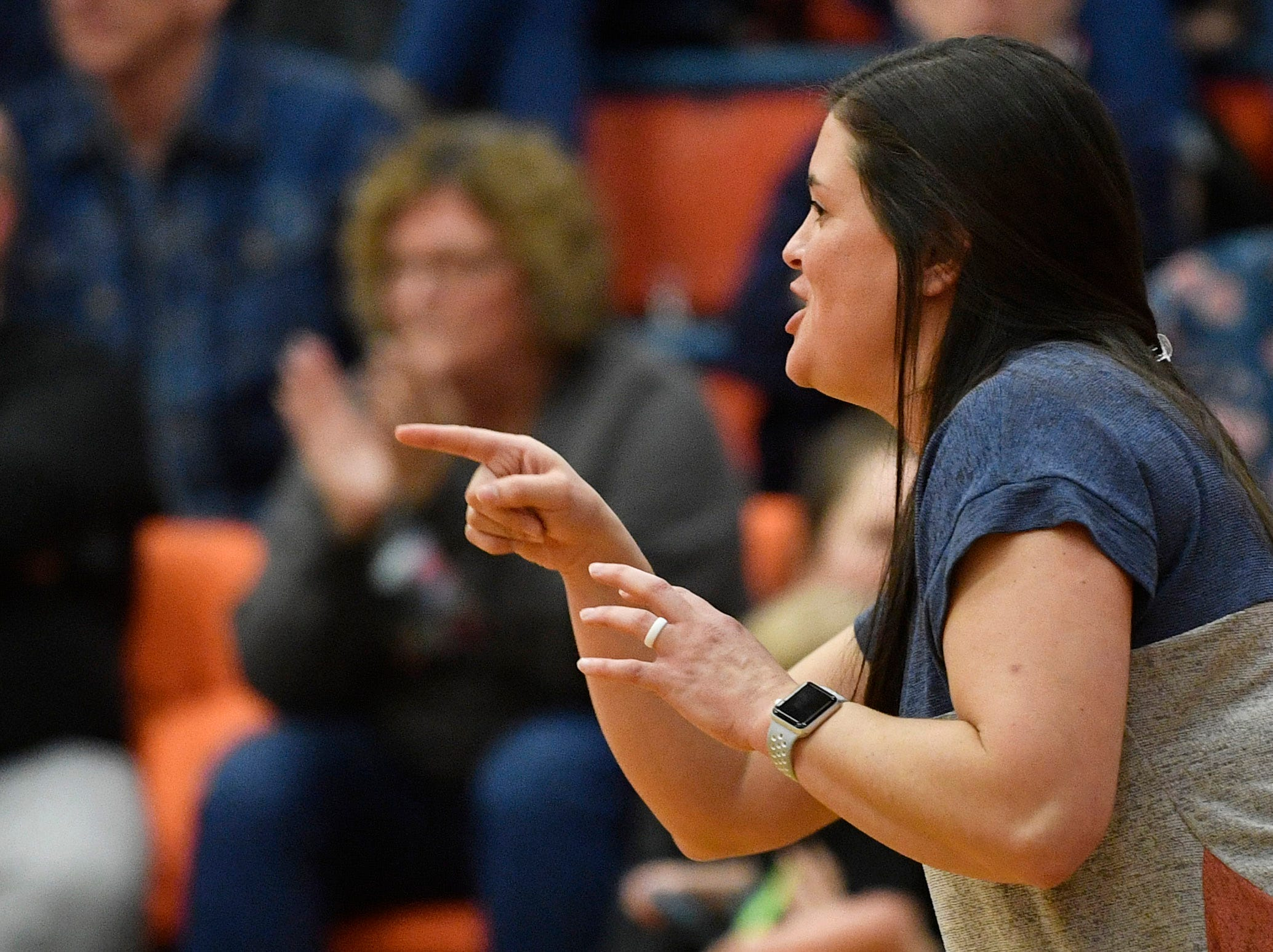 Erin Webb coached the Lady Cougars' 61-56 comeback win over Brentwood in the District 11-AAA girls championship. Monday, Feb. 18, 2019, in Dickson, Tenn.