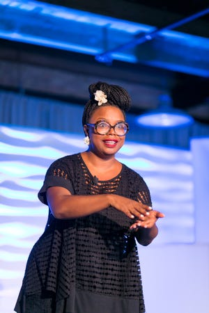 Fallon S. Wilson speaks at Black Tech Mecca's 2018 Summit on the Black Tech Ecosystem in June in Chicago.