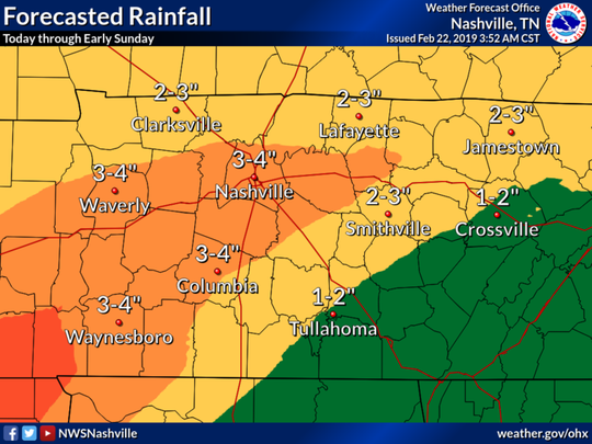 Nashville could see about 3-4 inches of rain through early Sunday, Feb. 24