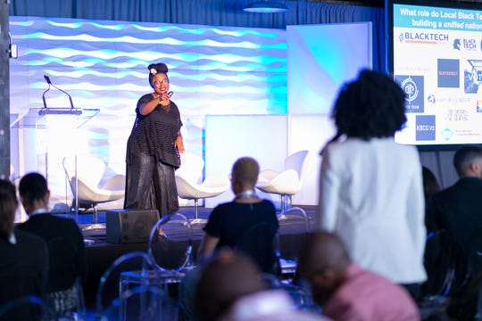 Fallon S. Wilson answers a question at Black Tech Mecca's 2018 Summit on the Black Tech Ecosystem in June in Chicago.