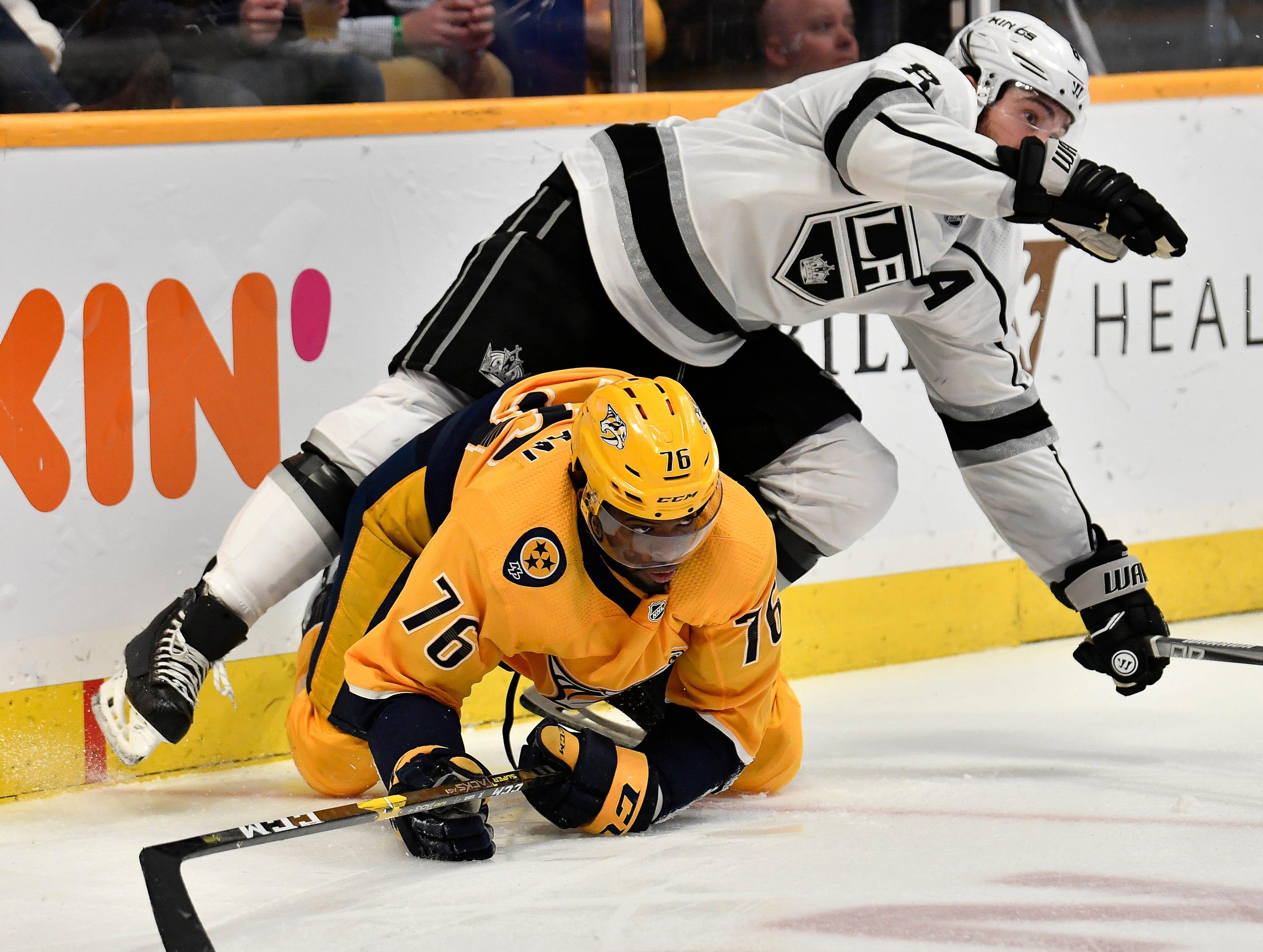 Feb. 21, 2019: Predators 2, Kings 1 -- Predators defenseman P.K. Subban (76) knocks Kings defenseman Drew Doughty (8) to the ice during the third period at Bridgestone Arena Thursday, Feb. 21, 2019 in Nashville, Tenn.