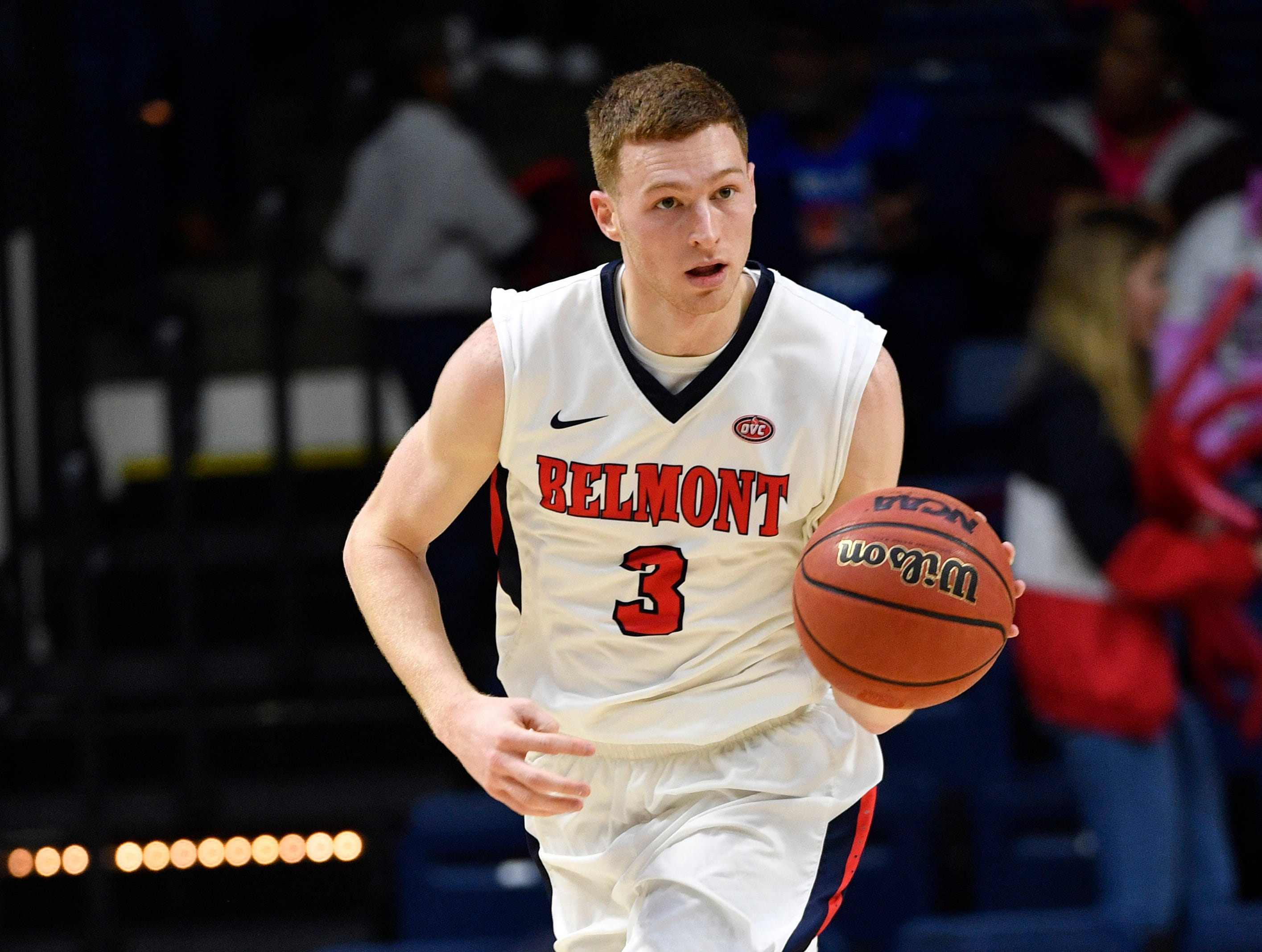 Dylan Windler carries the ball down the court as Belmont plays Eastern Illinois in Curb Event Center Thursday, Feb. 21, 2019, in Nashville, Tenn. Flood stage is 40 feet.