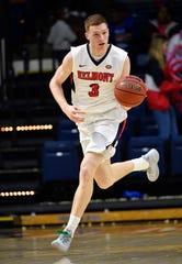 Dylan Windler carries the ball down the court as Belmont plays Eastern Illinois in Curb Event Center Thursday, Feb. 21, 2019, in Nashville, Tenn.