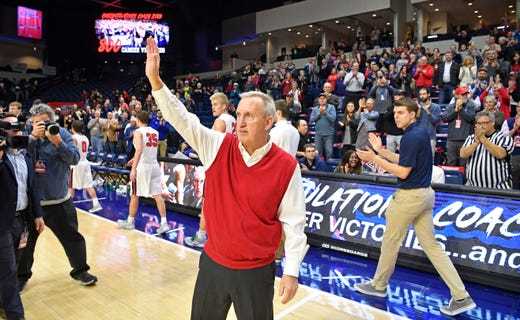 af83d12ce Belmont Coach Rick Byrd waves to a standing ovation after winning his 800th  game as Belmont