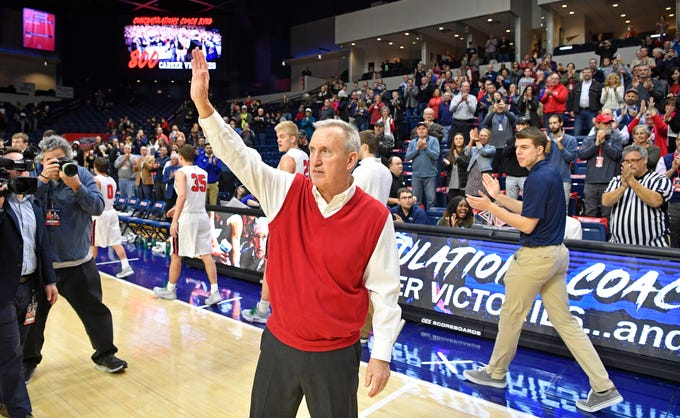 Belmont Coach Rick Byrd waves to a standing ovation after winning his 800th game as Belmont defeated Eastern Illinois 99-58 in Curb Event Center Thursday, Feb. 21, 2019, in Nashville, Tenn.