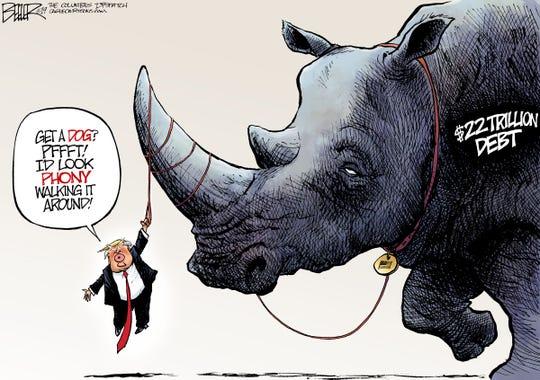 trump's dog as rhino debt