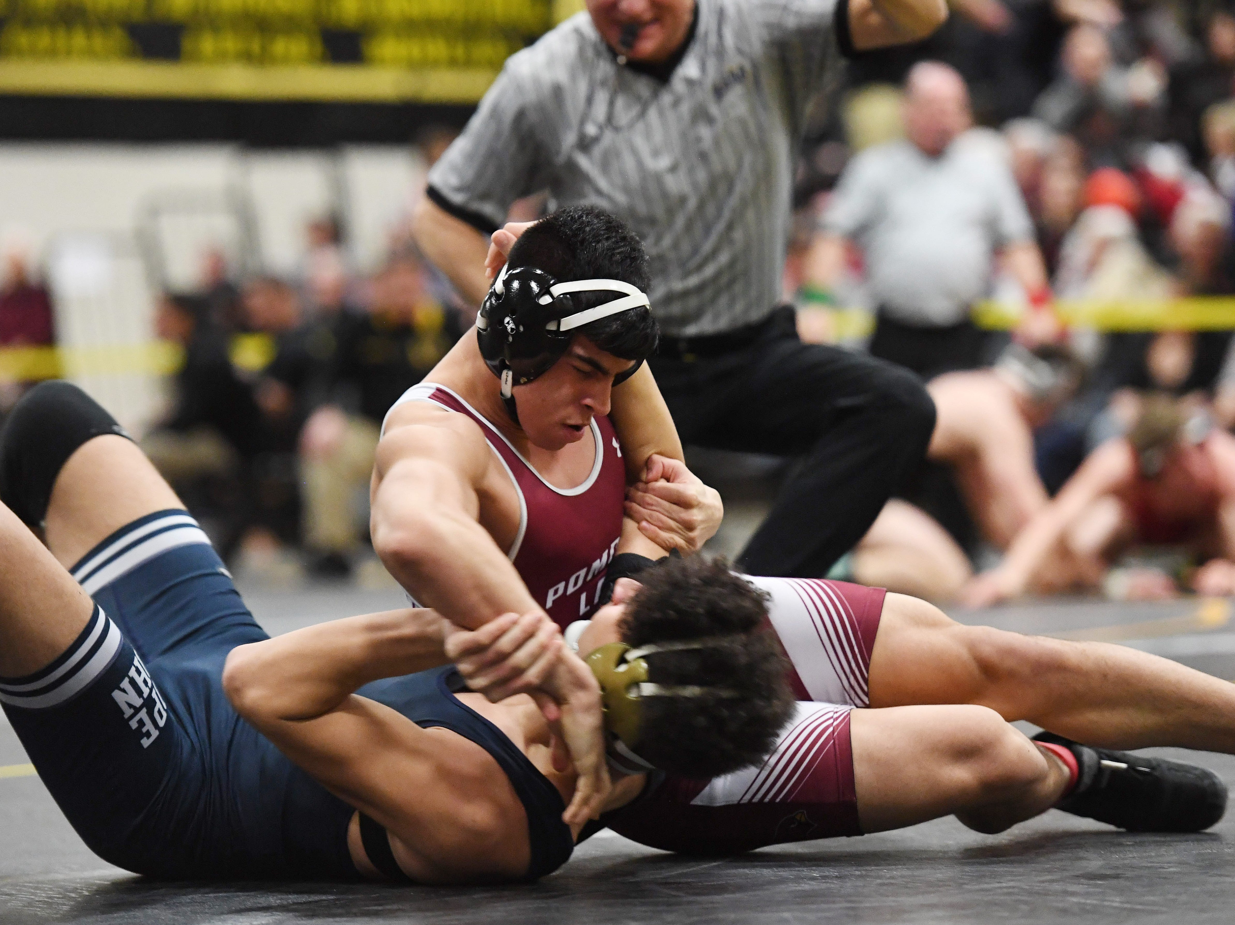 Region 1 wrestling tournament at West Milford High School on Thursday, February 21, 2019. Ramon Hernandez (Pompton Lakes) on his way to defeating Peter Delaportas (Pope John XXIII) in their 182 pound match.