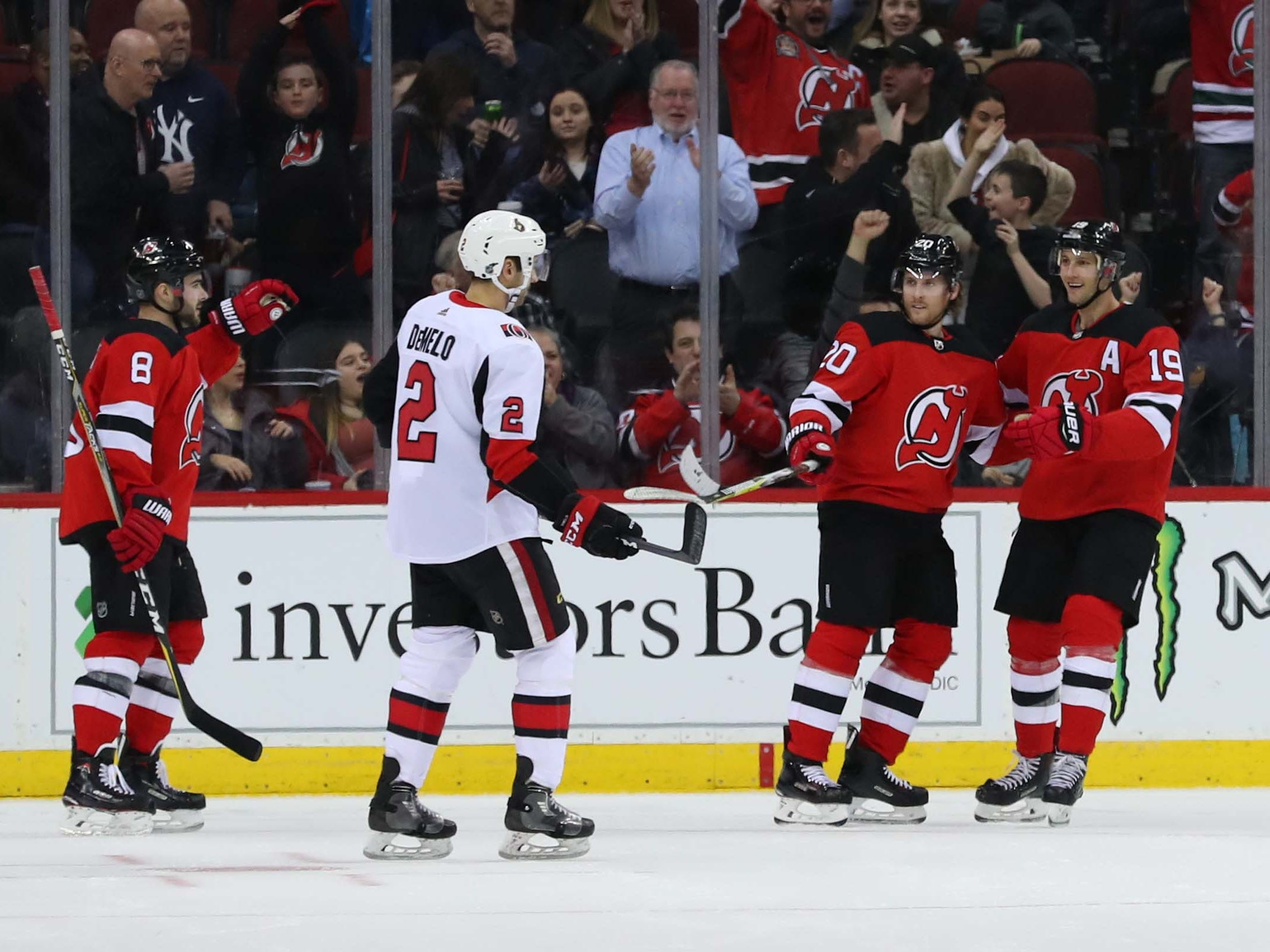 Feb 21, 2019; Newark, NJ, USA; The New Jersey Devils celebrate a goal by New Jersey Devils center Travis Zajac (19) during the first period at Prudential Center.