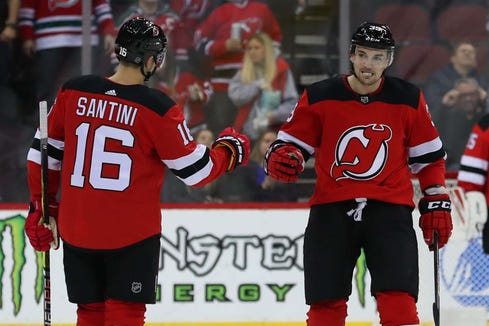 Feb 21, 2019; Newark, NJ, USA; New Jersey Devils right wing Kurtis Gabriel (39) celebrates his first NHL goal during the second period of their game against the Ottawa Senators at Prudential Center.