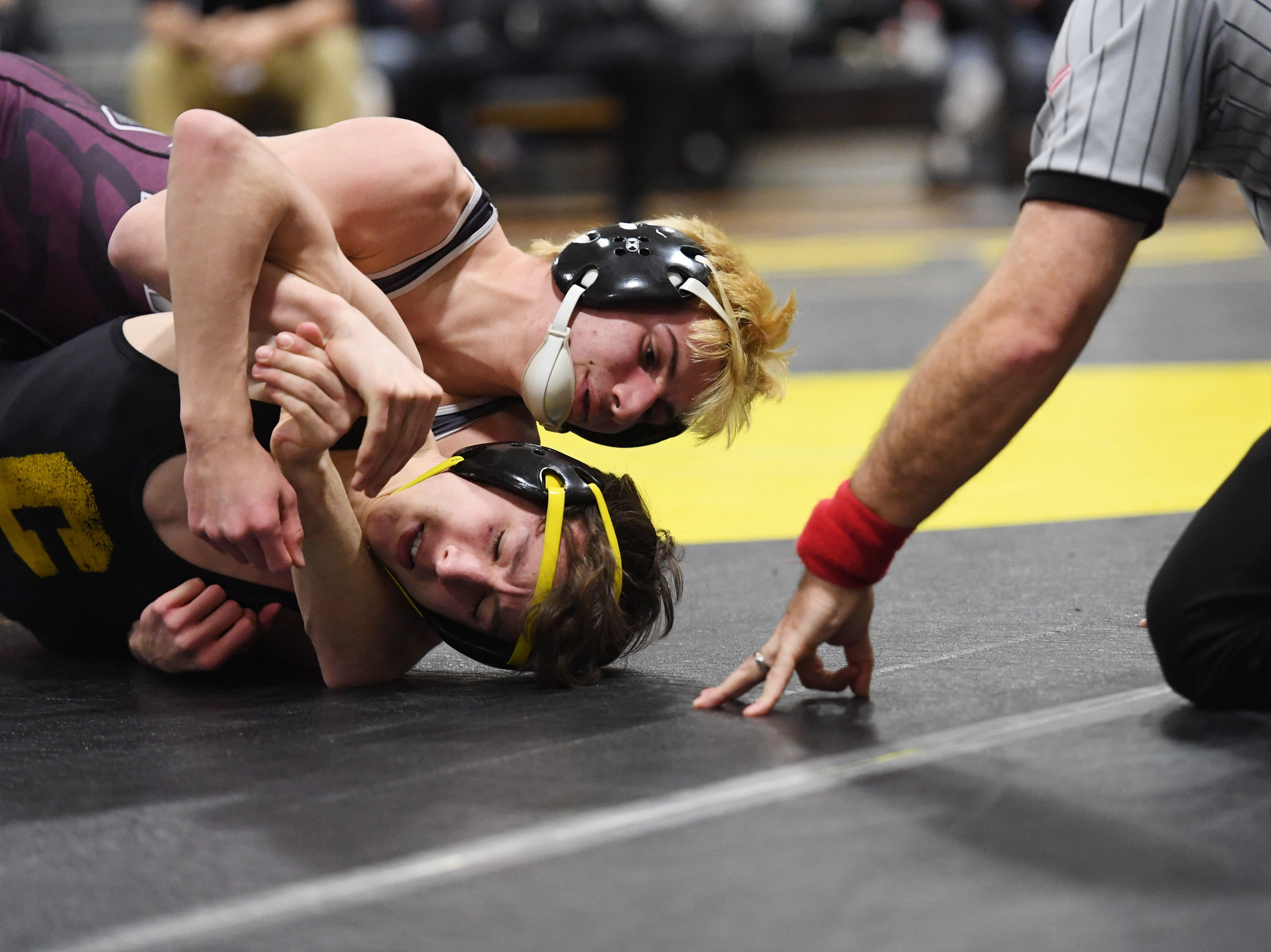 Region 1 wrestling tournament at West Milford High School on Thursday, February 21, 2019. JoJo LoTruglio (Newton) on his way to defeating Owen Ross (Cresskill) in their 126 pound match.