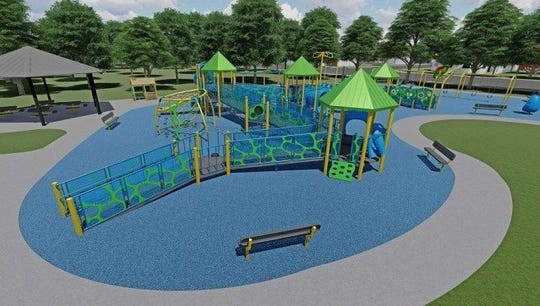 An artist's rendering of an inclusive playground proposed for construction at Rabbi Shai Shacknai Memorial Park in Wayne.